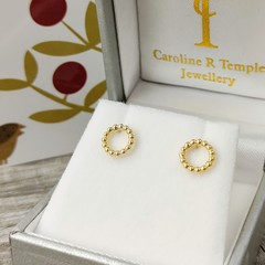 NEW solid gold granulated studs