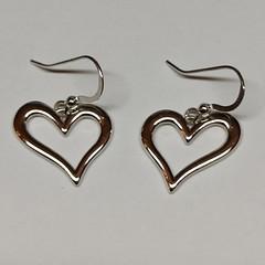 Silver open heart large earrings