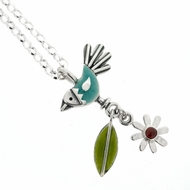 Blue Bird, Flower and Leaf Pendant