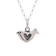 Shadow Heart Bird Pendant