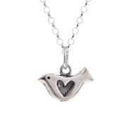 Shadow Heart Bird Pendant