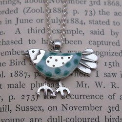 Blue Enamel Bird Pendant