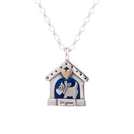 Blue Enamel Doghouse Pendant