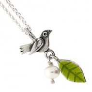 Blackbird Leaf and Pearl Necklace
