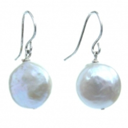 White Penny Pearl Earrings