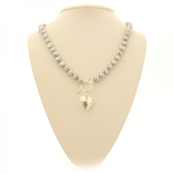 Silver Grey Baroque Pearl Necklace with Silver Heart