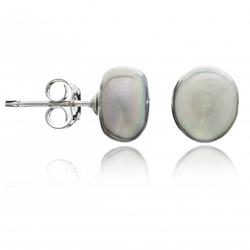 Silver Grey Irregular Pearl Studs