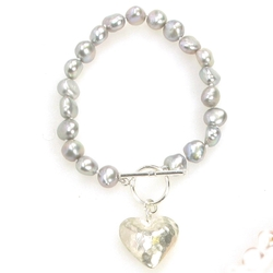 Silver Grey Baroque Pearl Bracelet with Silver Heart