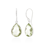 Green amethyst teardrop checkerboard earrings