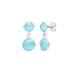 Soft blue chalcedony double drop earring