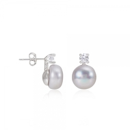 Silver grey freshwater pearl and zircon stud