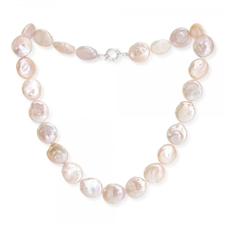 Large pink freshwater coin pearl necklace