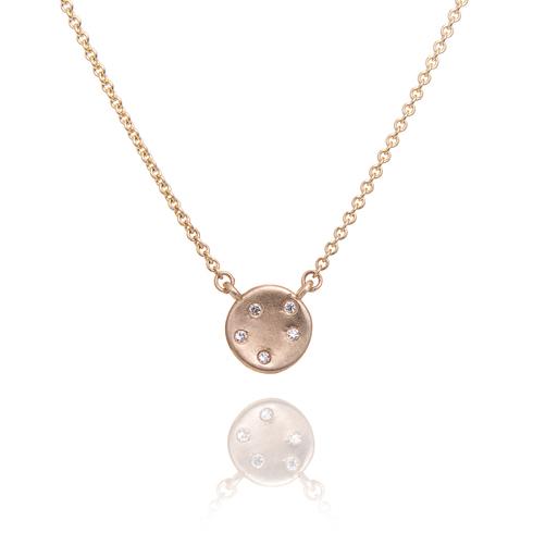 Gold and  5 diamond cosmos pendant