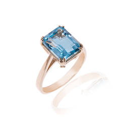 Gold and Octagon Cut 2.25 carat Blue Topaz Ring