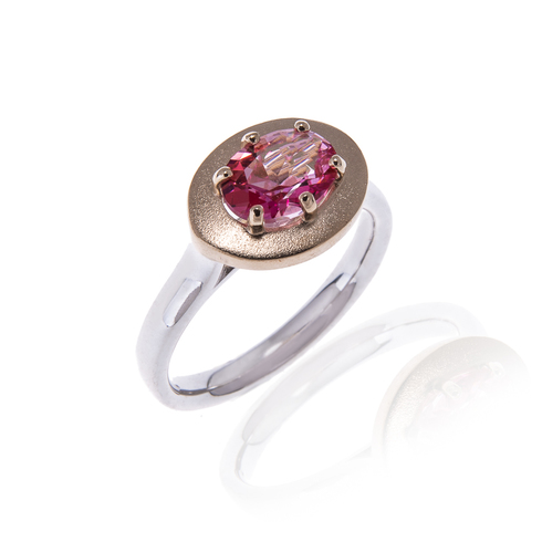 Pink Topaz Ring set in Gold and Silver
