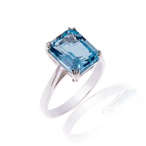 Silver and 2.25 carat Blue Topaz Ring