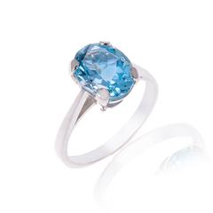Sky Blue Oval 2 Carat Topaz Silver ring