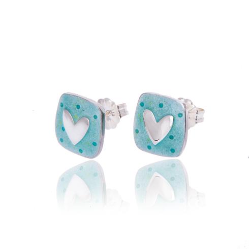 Aqua silver heart studs