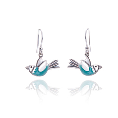 Aqua flying bird drop earrings