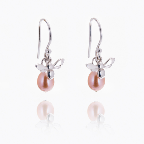 Honey Bee with Pink Pear Drop Earrings
