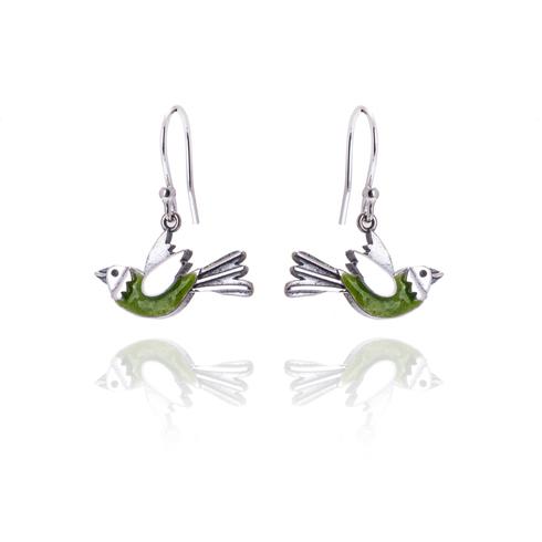 Elf Green Flying Bird Drop Earrings
