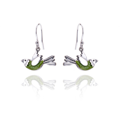 Elf Green Flying Bird Drop Earrings