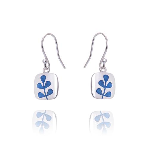Medium Stem transparent lapis blue drop  earrings