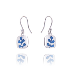 Medium Stem transparent lapis blue drop  earrings