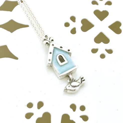 Blue Birdhouse Pendant