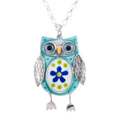 Large Blue Owl Pendant