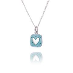 Aqua silver heart