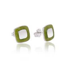 Green square cushion studs