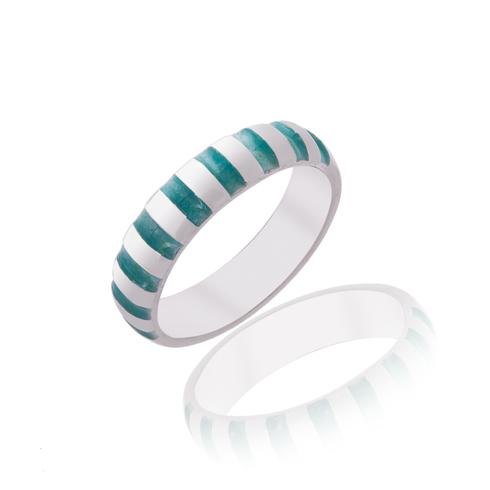 Aqua Striped Ring