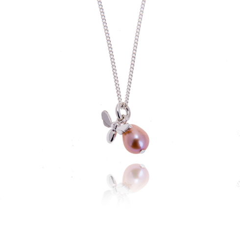 Little honey bee with pink pearl pendant