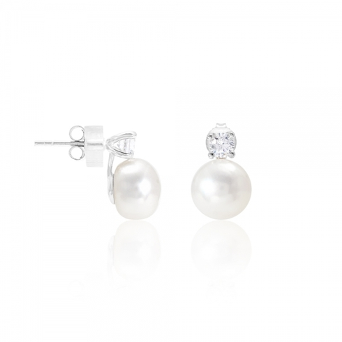 large button pearl with crystal stud