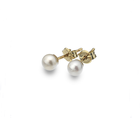 Gold and freshwater pearl studs