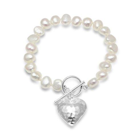Irregular white freshwater pearl heart bracelet