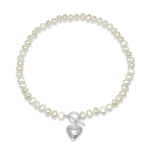 White freshwater pearl necklace with silver hammered heart