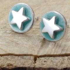 Aqua enamel silver star studs