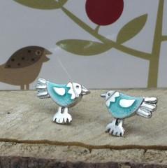 Aqua baby bird studs
