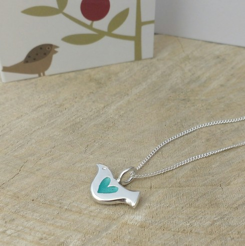 Aqua Heart Bird Pendant