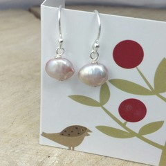 Natural pink irregular pearl drop earrings