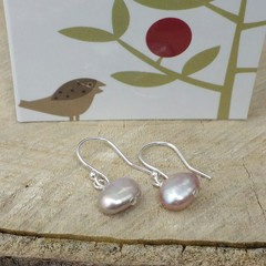 NEW Natural pink irregular pearl drop earrings