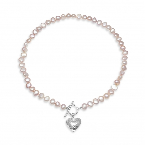 Pink Baroque Pearl Necklace with Silver Heart