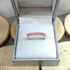 Pink topaz seven stone stacking silver ring