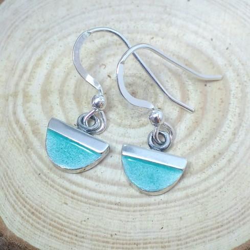 Aqua mini fan drop earrings