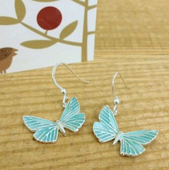 Butterfly blue drop earrings