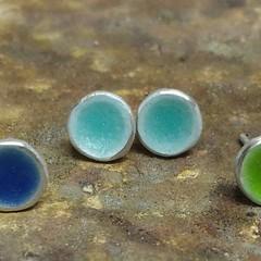 Baby aqua blue enamel studs