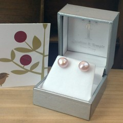 Natural pink irregular freshwater pearl studs