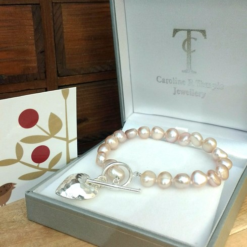 Pink Baroque Pearl Bracelet with Silver Heart